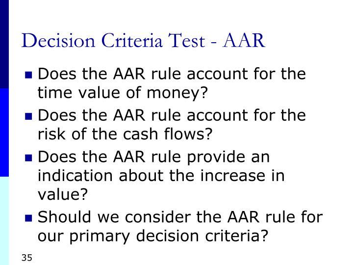 Decision Criteria Test - AAR