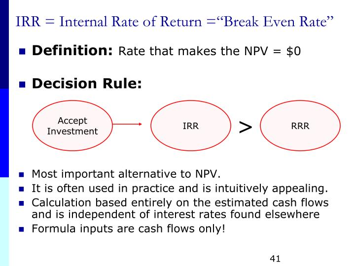 an analysis of international rate of return irr and net present value npv