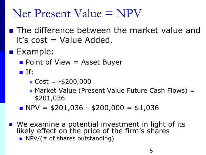 Net Present Value = NPV