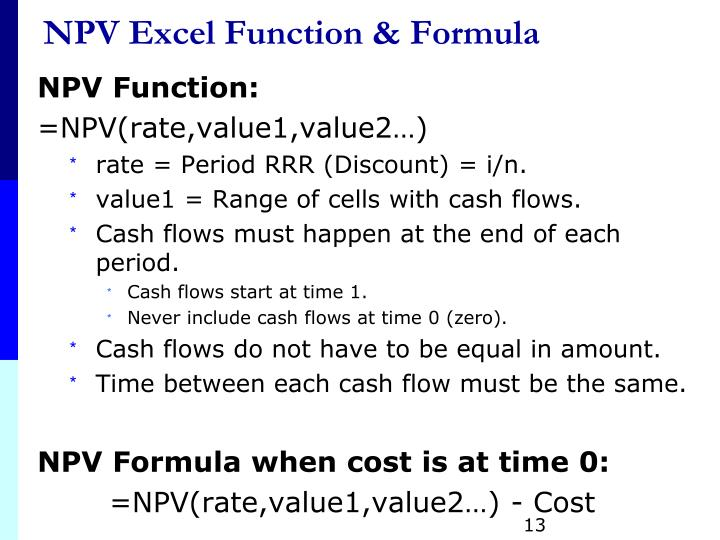 NPV Excel Function & Formula