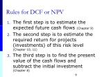 rules for dcf or npv