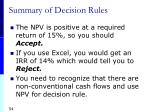 summary of decision rules