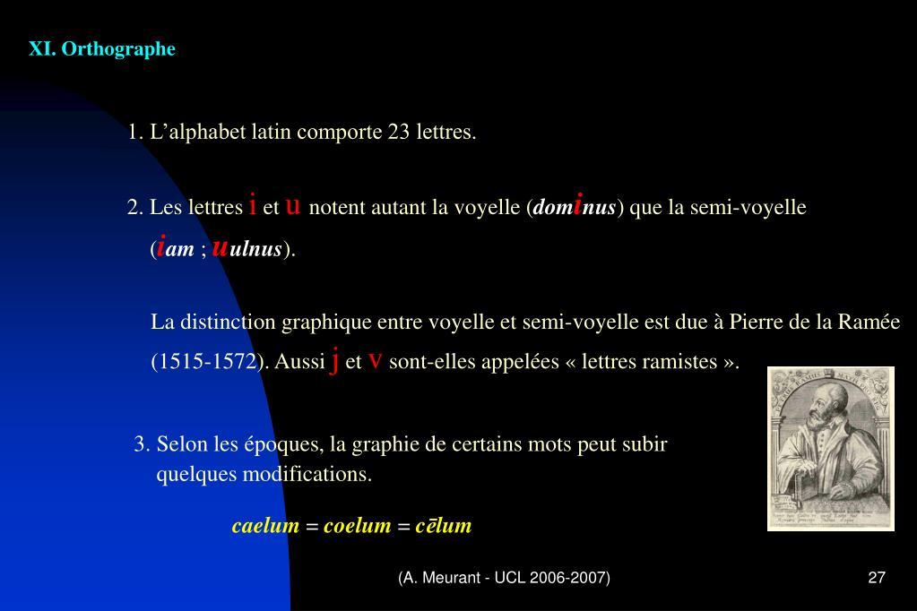XI. Orthographe