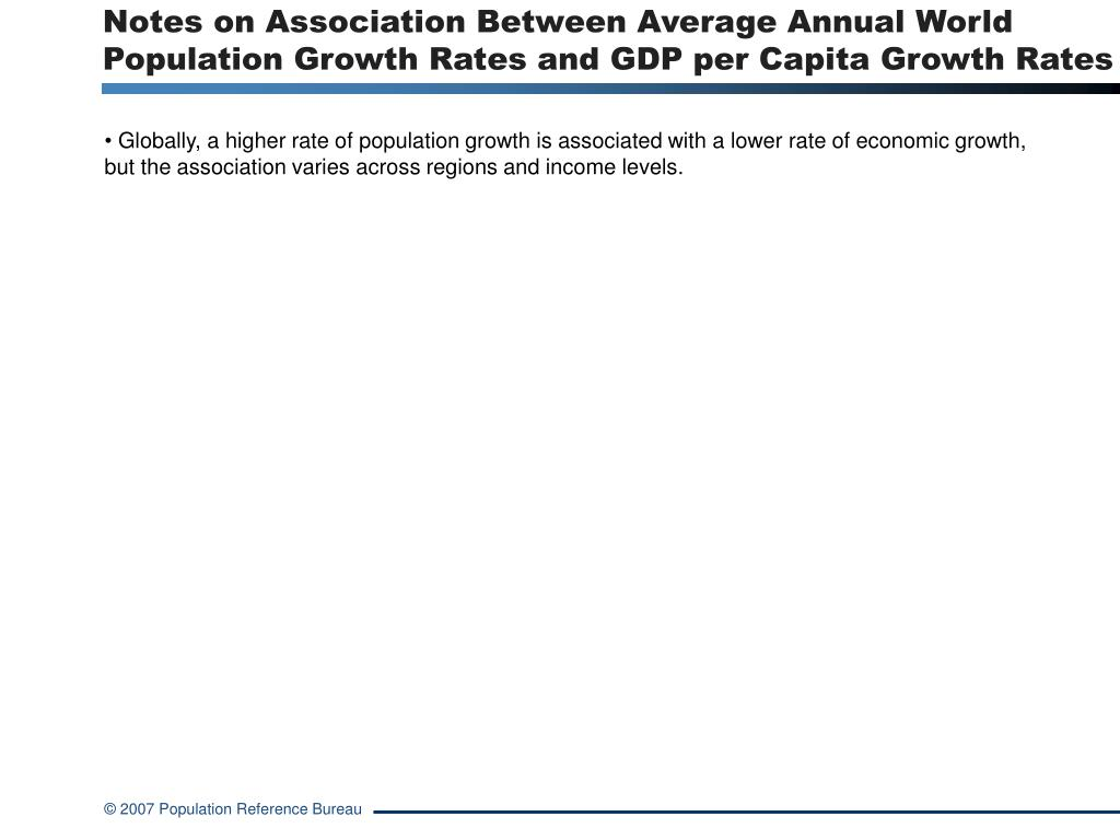 Notes on Association Between Average Annual World Population Growth Rates and GDP per Capita Growth Rates