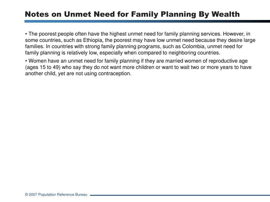 Notes on Unmet Need for Family Planning By Wealth