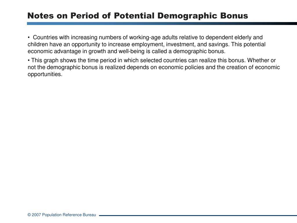 Notes on Period of Potential Demographic Bonus