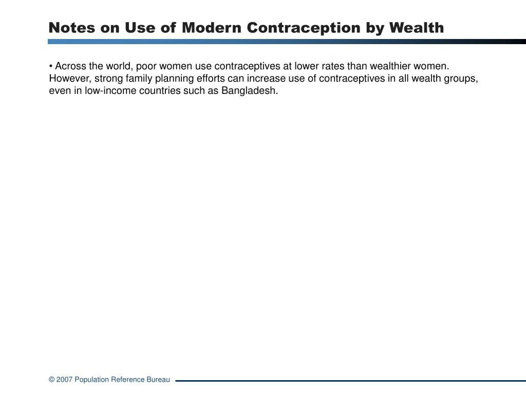 Notes on Use of Modern Contraception by Wealth