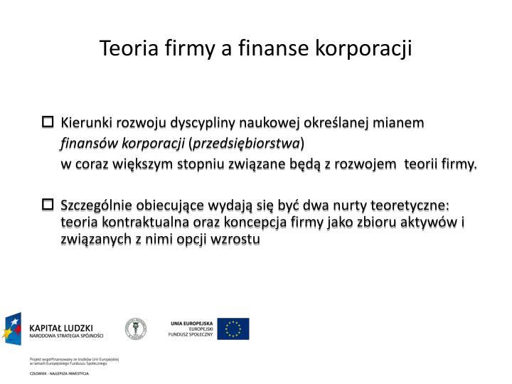 Teoria firmy a finanse korporacji