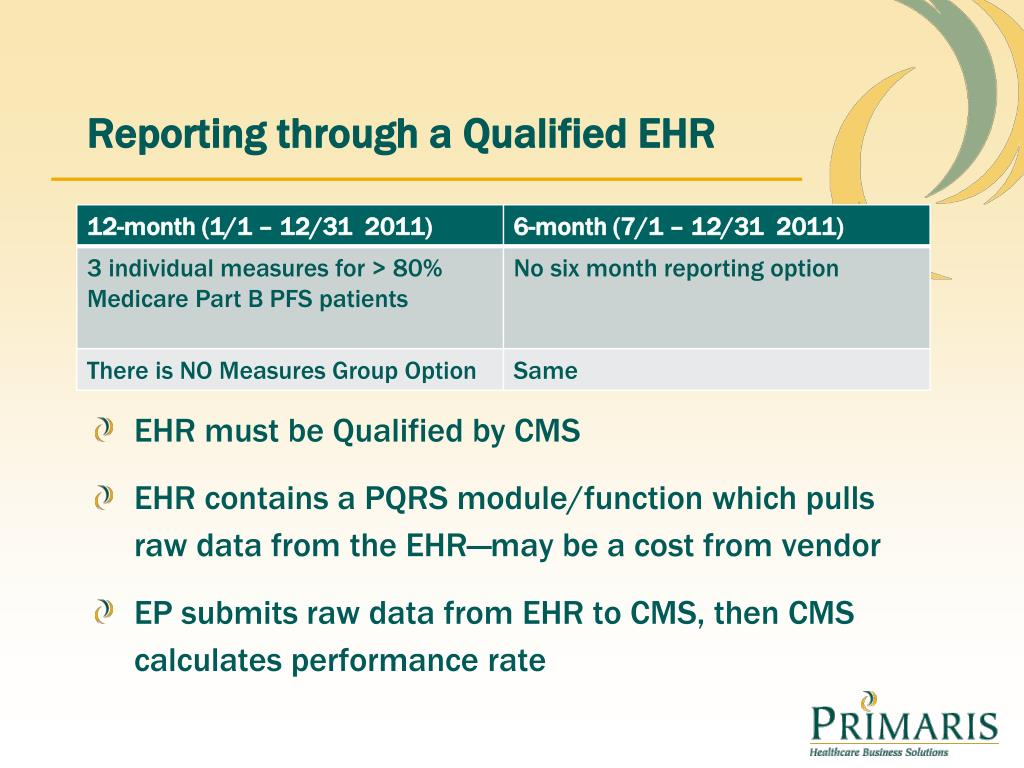Cms ehr certification ppt quality reporting for physicians pqrs physician 1betcityfo Images