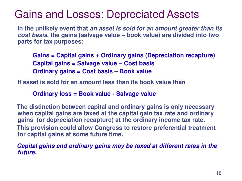 Gains and Losses: Depreciated Assets