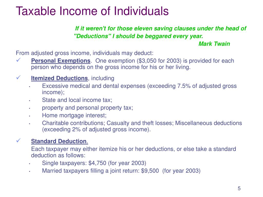 Taxable Income of Individuals
