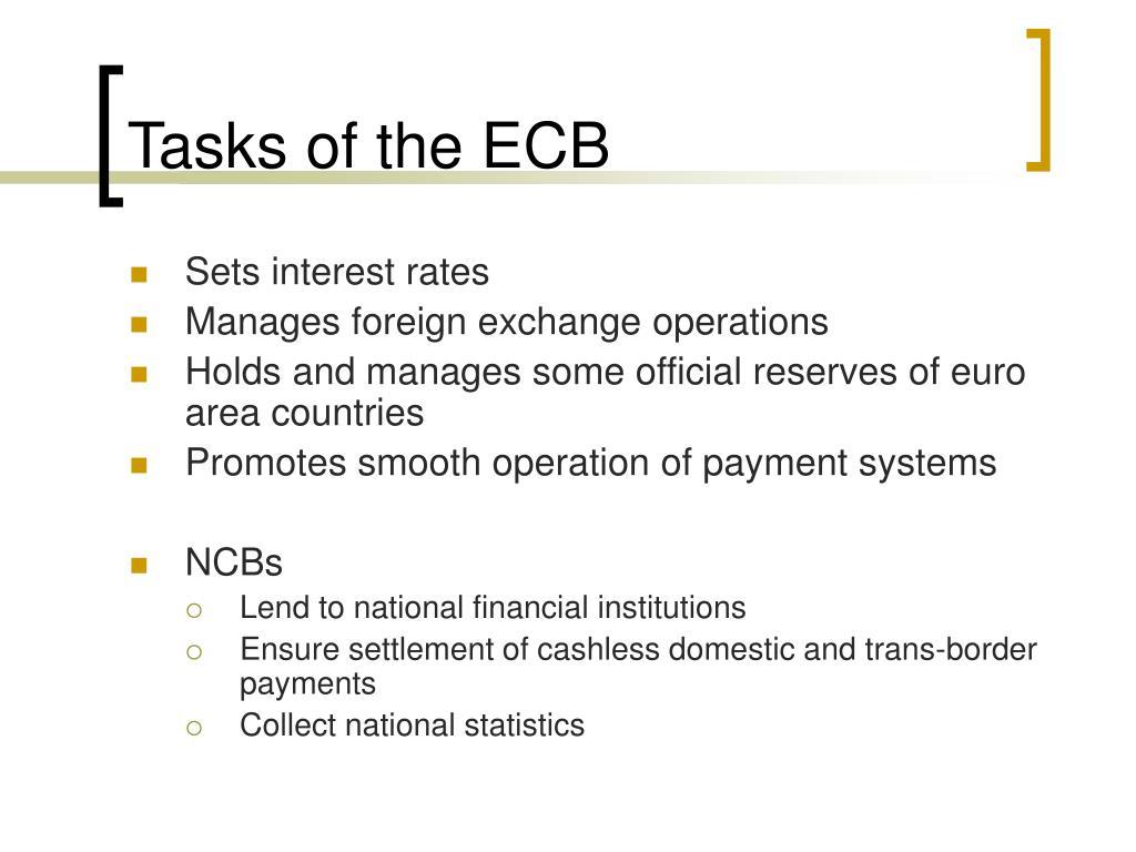 Tasks of the ECB