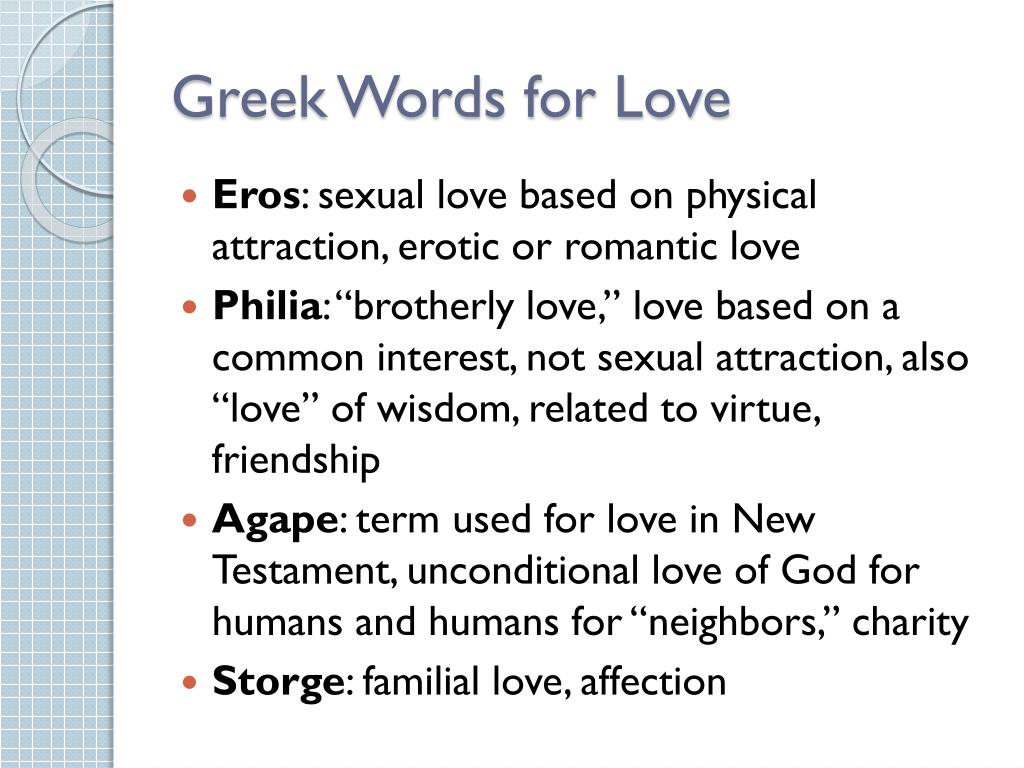 Greek Words for Love
