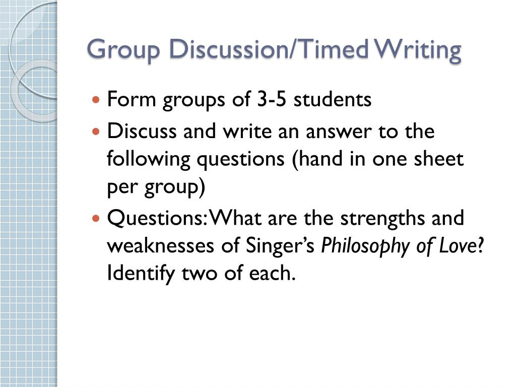 Group Discussion/Timed Writing