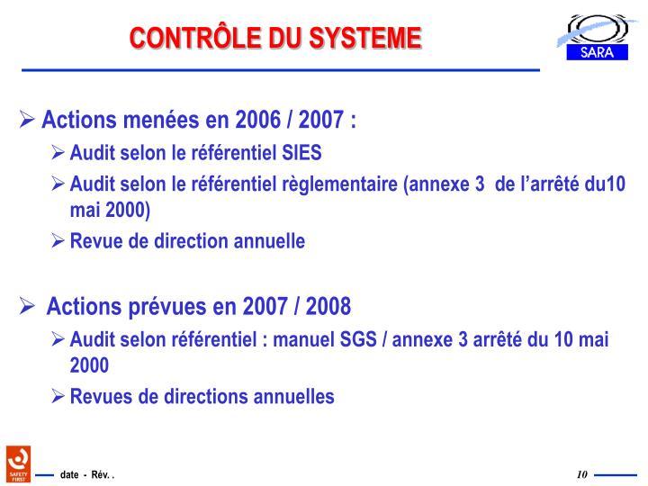 CONTRÔLE DU SYSTEME