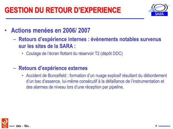 GESTION DU RETOUR D'EXPERIENCE