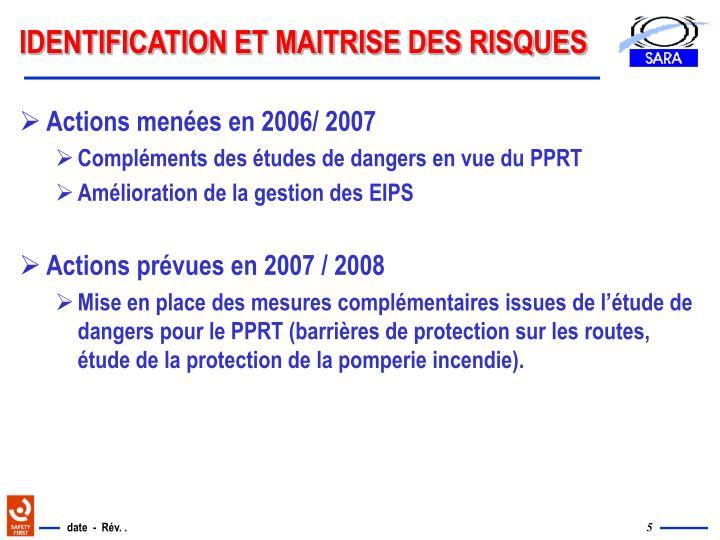 IDENTIFICATION ET MAITRISE DES RISQUES