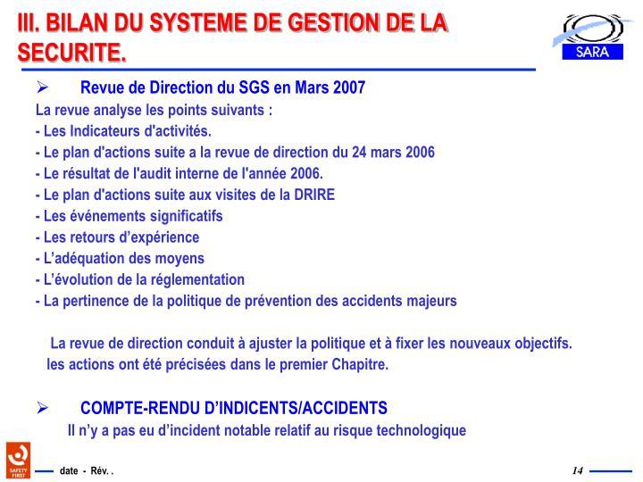 III. BILAN DU SYSTEME DE GESTION DE LA SECURITE.