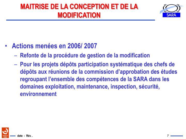 MAITRISE DE LA CONCEPTION ET DE LA MODIFICATION