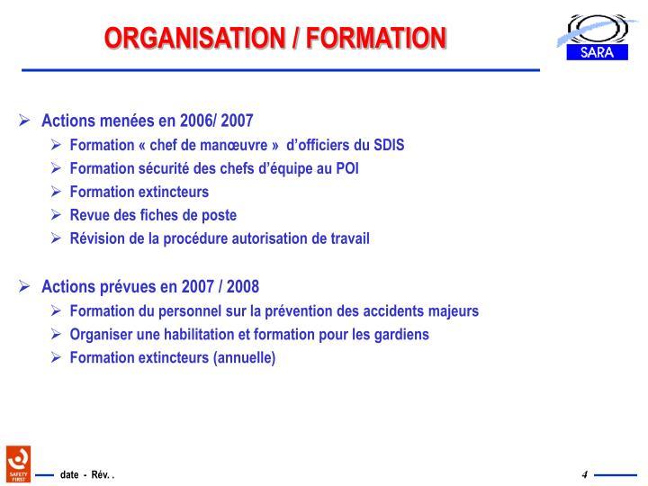 ORGANISATION / FORMATION