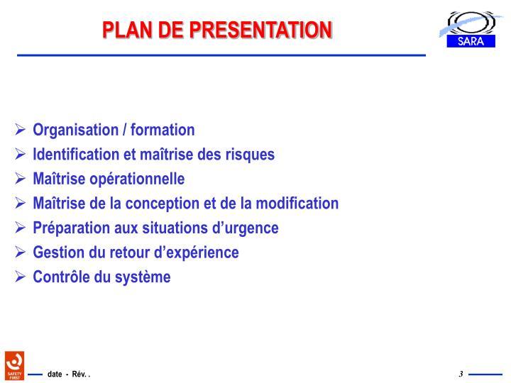 PLAN DE PRESENTATION