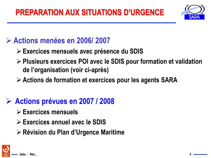 PREPARATION AUX SITUATIONS D'URGENCE