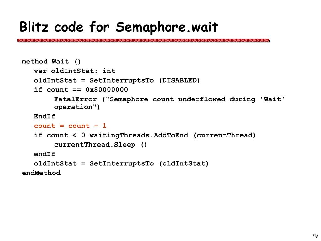 Blitz code for Semaphore.wait