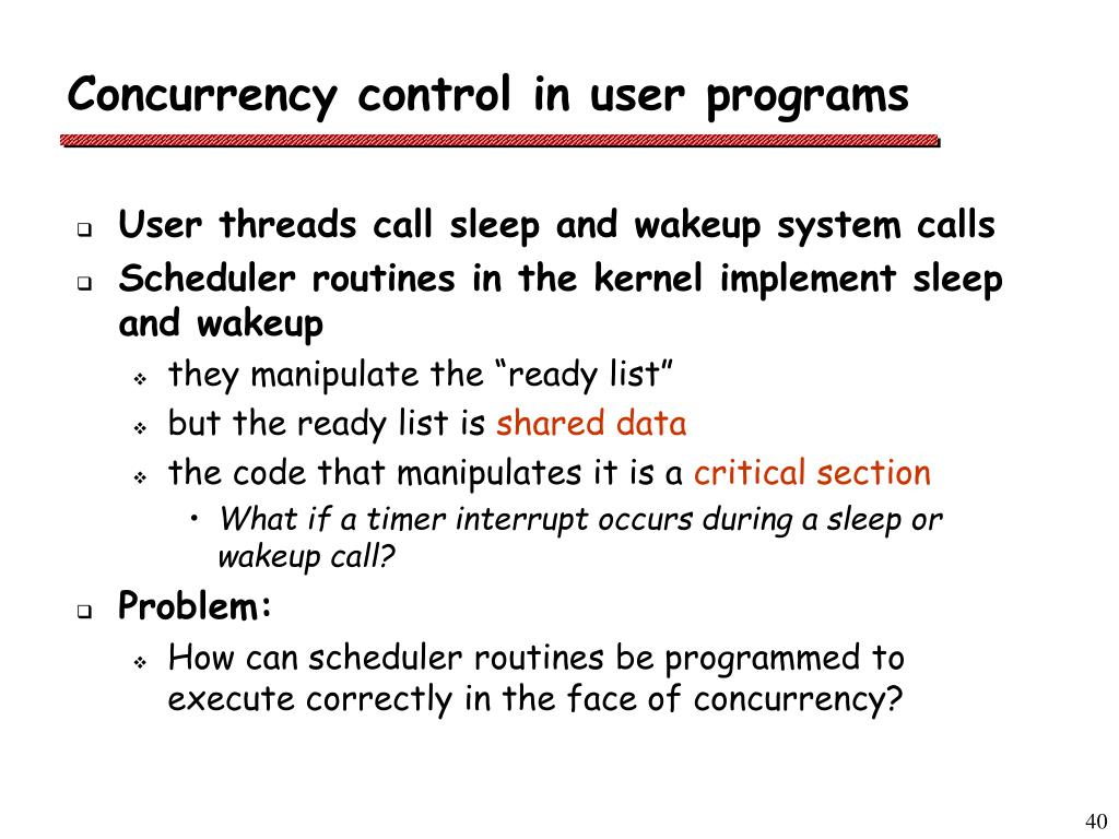 Concurrency control in user programs