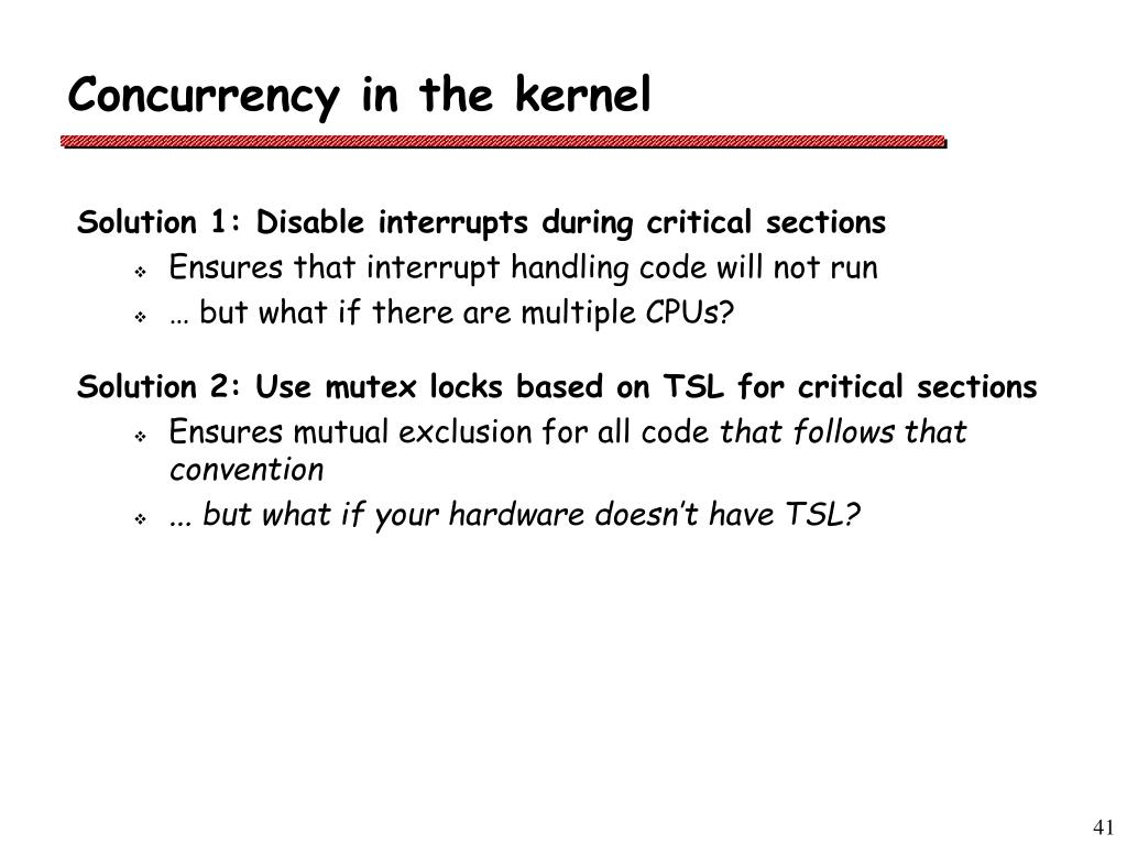 Concurrency in the kernel