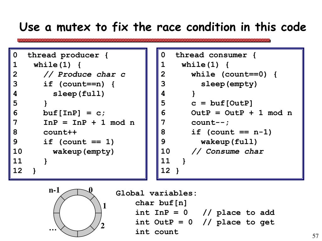 Use a mutex to fix the race condition in this code