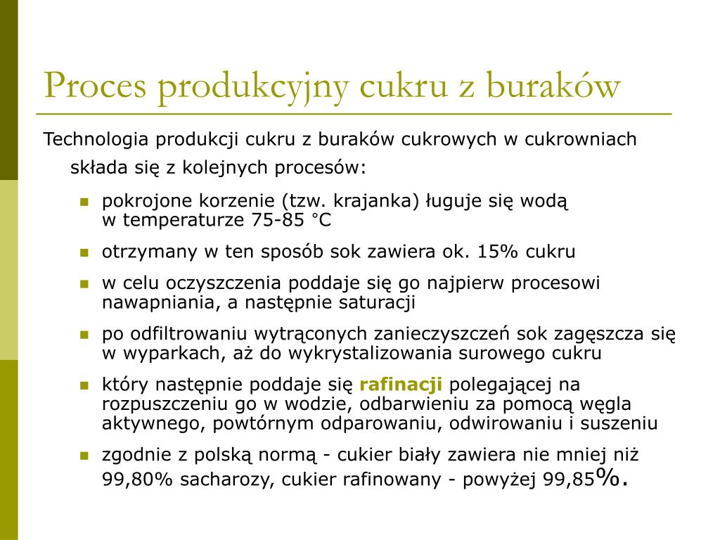 Proces produkcyjny cukru z buraków