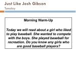 just like josh gibson tuesday
