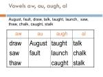 vowels aw au augh al august fault draw talk taught launch saw thaw chalk caught stalk104