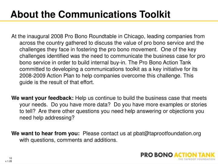 About the Communications Toolkit