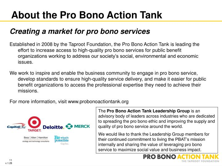 About the Pro Bono Action Tank