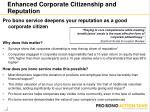 enhanced corporate citizenship and reputation
