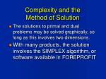 complexity and the method of solution
