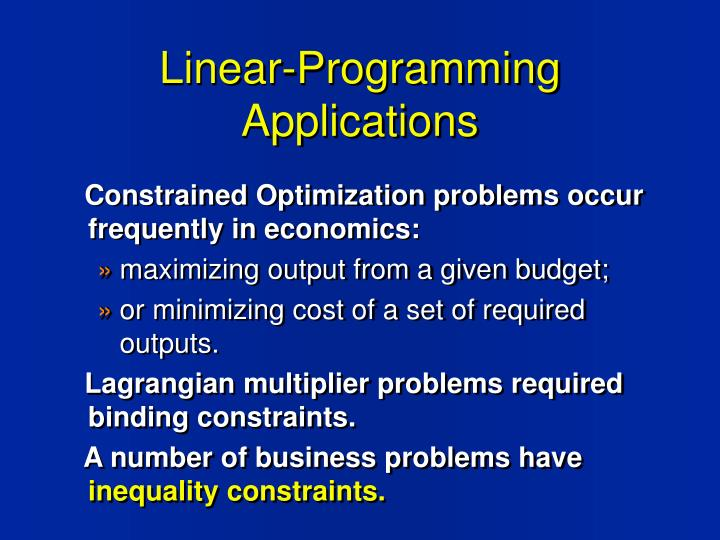 Linear-Programming Applications