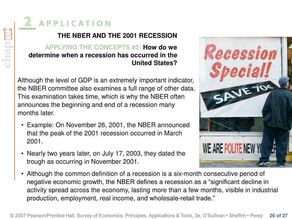 THE NBER AND THE 2001 RECESSION