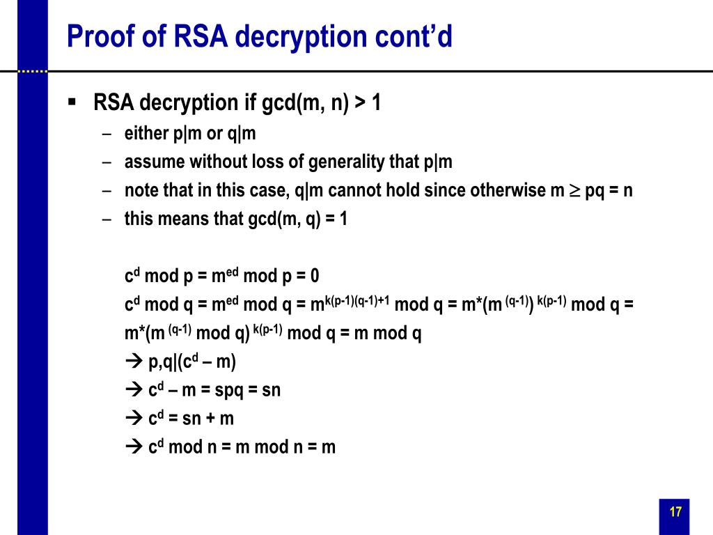 Proof of RSA decryption cont'd