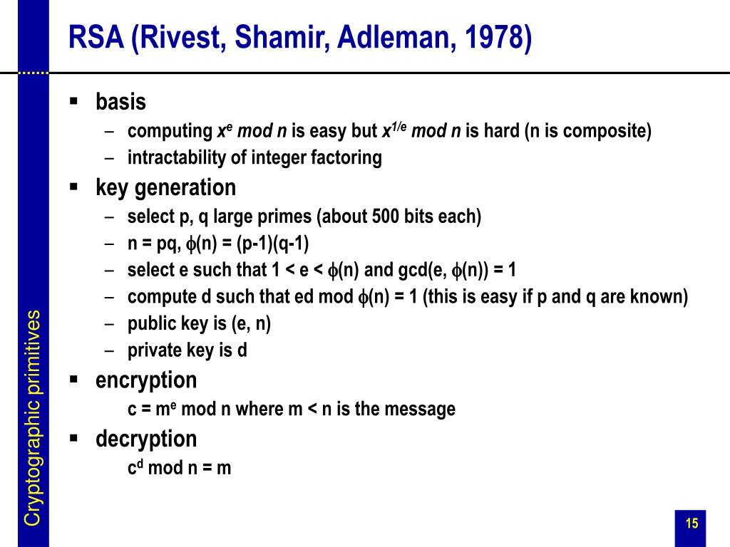 RSA (Rivest, Shamir, Adleman, 1978)