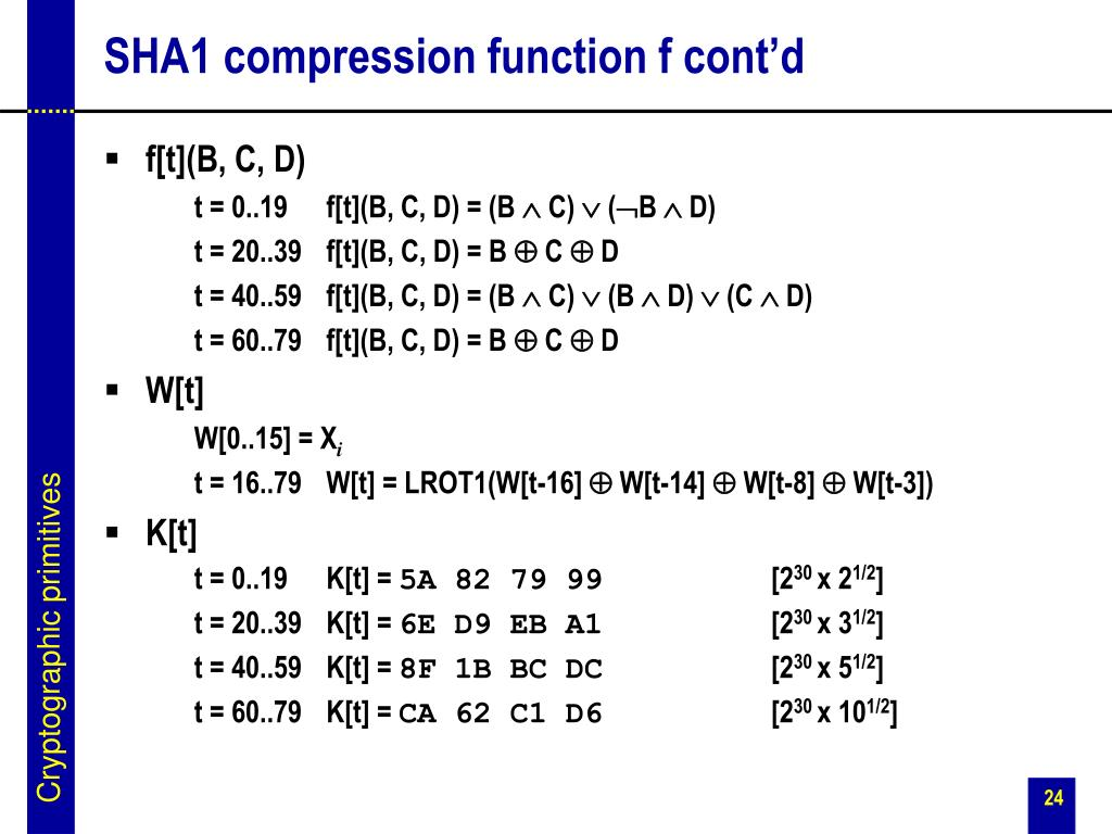 SHA1 compression function f cont'd