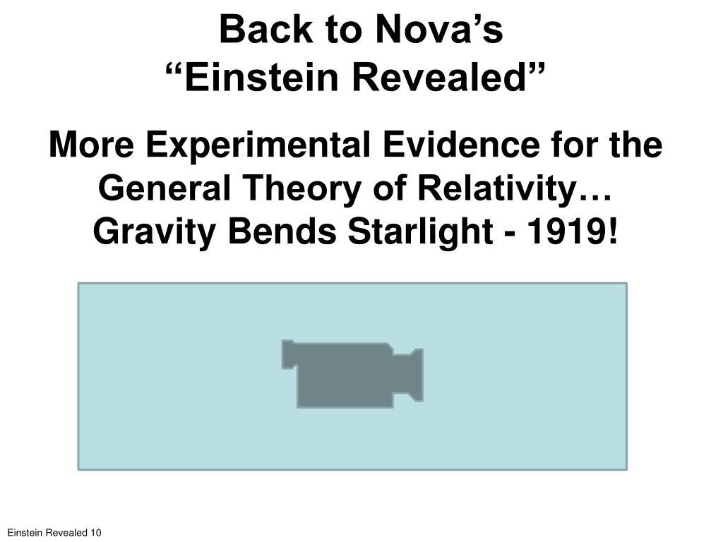 """Back to Nova's                           """"Einstein Revealed"""""""