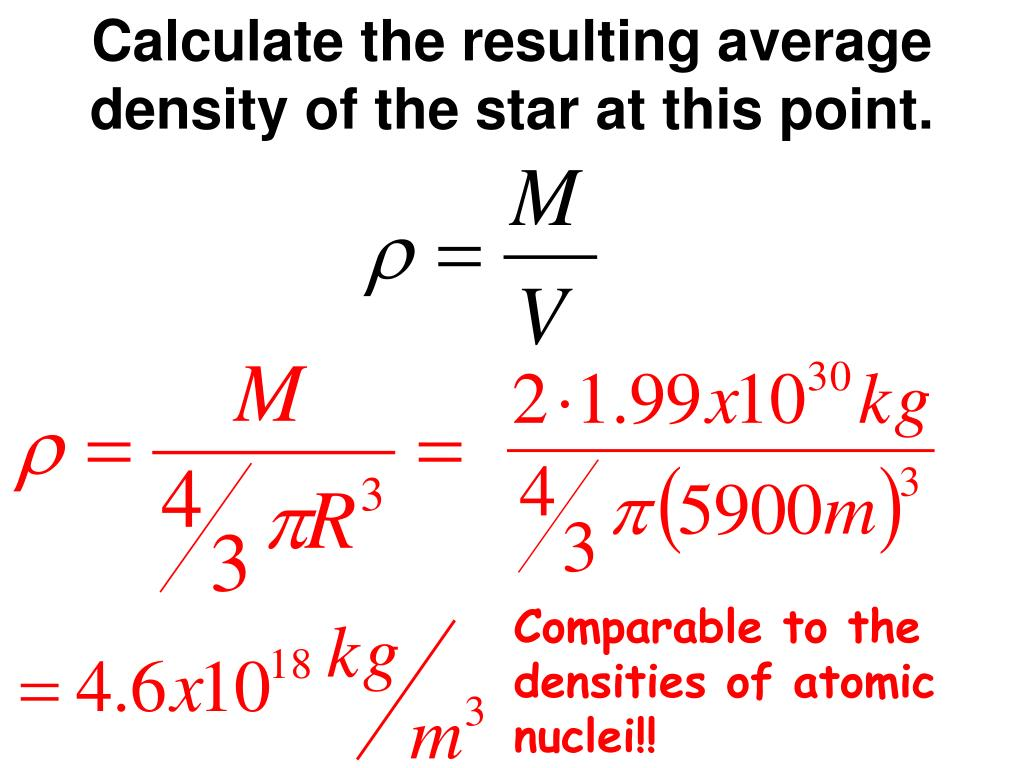 Calculate the resulting average density of the star at this point.