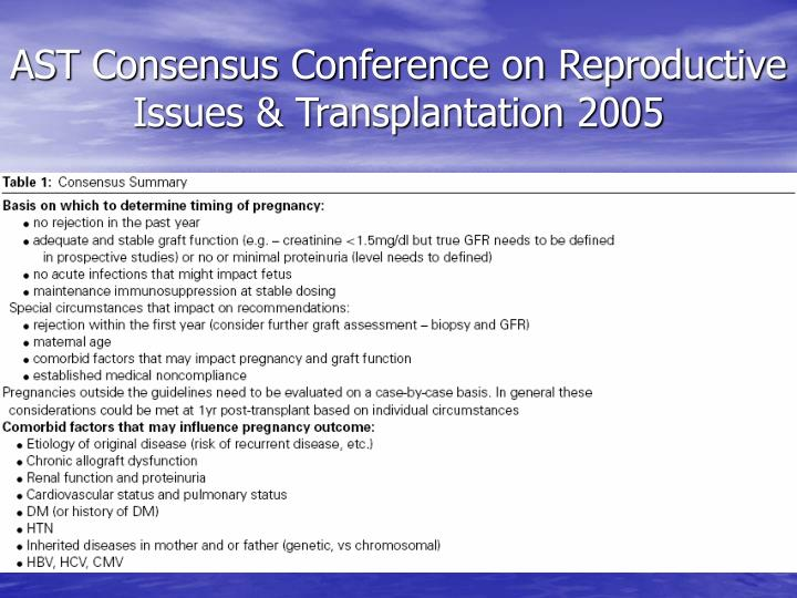 AST Consensus Conference on Reproductive Issues & Transplantation 2005