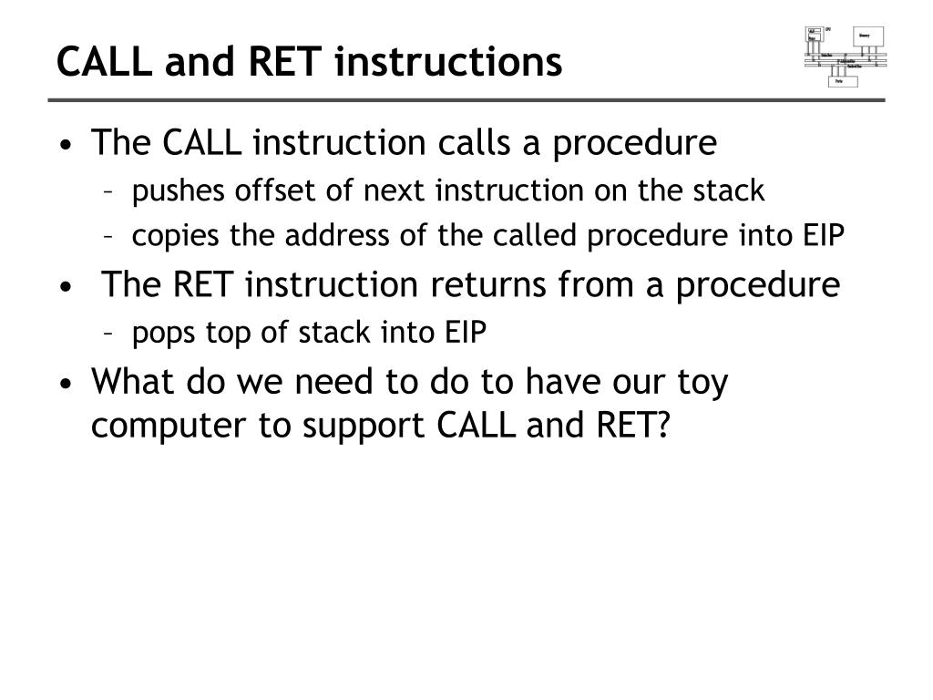 CALL and RET instructions