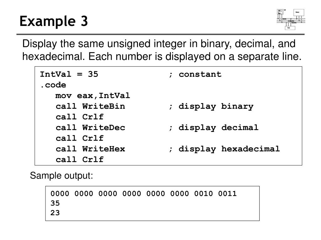 Sample output: