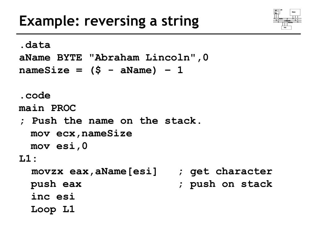 Example: reversing a string