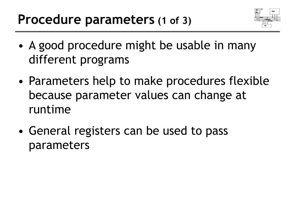 Procedure parameters