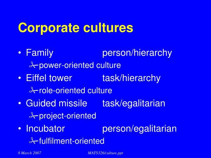 Corporate cultures